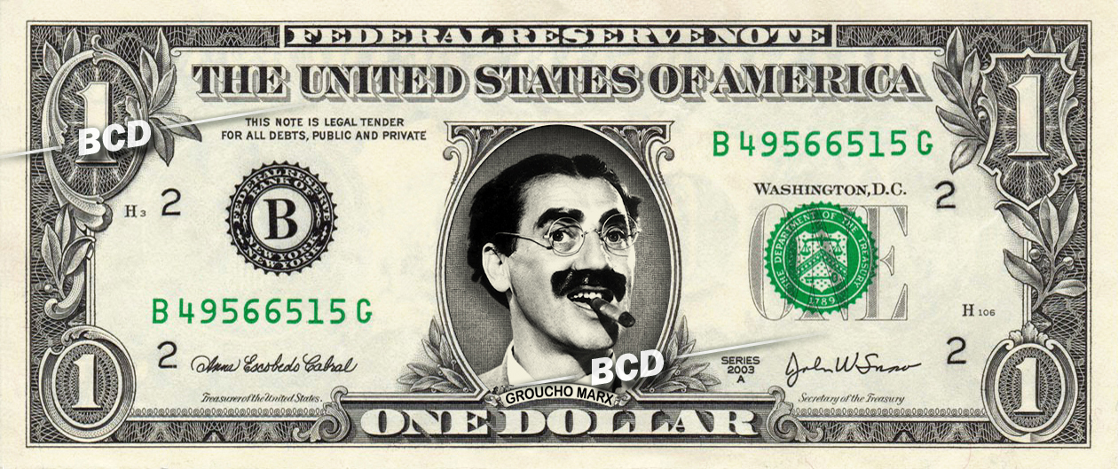 GROUCHO MARX Julius Henry on REAL Dollar Bill Cash Money Bank Note Currency