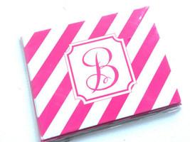 Pink Stripes B Monogram Set of 6 Notecards and Envelopes 4.25'' x 5.50'' - $3.88