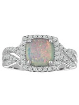 Sterling Silver Created Opal and Cubic Zirconia Cushion-Cut Ring Size 7 - $44.99