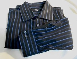 Alfani Fitted Black & Blue Stripes   100%  Cotton Dress Shirt Size XL 17... - $15.17