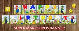 Super Mario Bros Happy Birthday Banner, Flags, Bunting Printable Digital... - $8.50