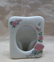 Vintage Stand Alone Porcelain Picture/Photo Frame with Roses - $9.00