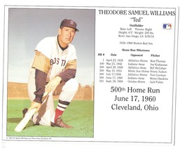 Ted Williams 500 Home Run Boston Red Sox Vintage 8X10 Color Baseball Photo - $4.99