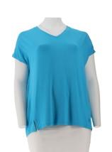 Belle Kim Gravel Essentials Drop Shoulder V-Neck Top Ocean Blue L NEW A3... - $24.73