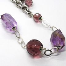Silver necklace 925, FLUORITE OVAL Faceted Purple, Length 80 cm image 4