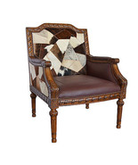 Fabulous Leather Cow Hide Carved Mahogany Wood Chair,39.5''H. - $985.05