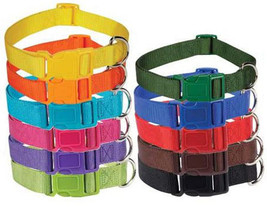 Nylon Dog Collar Bright & Basic Solid Color Pet 11 COLORS 4SIZES Puppy Zack Zoey - $4.19