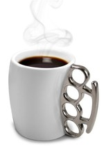 eSmart Fist Cup Brass Knuckle Duster Handle Coffee Mug, White/Black and ... - £11.62 GBP
