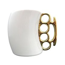 eSmart Fist Cup Brass Knuckle Duster Handle Coffee Mug, White/Black and ... - £12.40 GBP