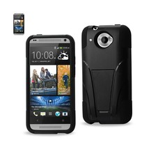 REIKO HTC ZARA HYBRID HEAVY DUTY CASE WITH KICKSTAND IN BLACK - $9.25