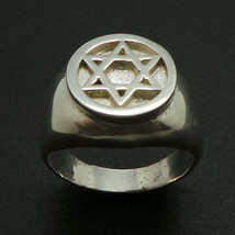 925 Silver Hebrew Jewish Hannukah Star of David Signet Ring for Men Sizable - $49.00