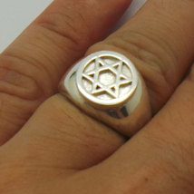 925 Silver Hebrew Jewish Hannukah Star of David Signet Ring for Men Sizable image 4