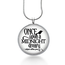 Once Upon a Midnight Dreary Necklace, Poe Pendant, quote, school gifts f... - $18.32