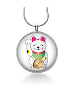 Lucky Cat Jewelry, Cat pendant, Charm Necklace, pendant jewelry, statement - $18.32