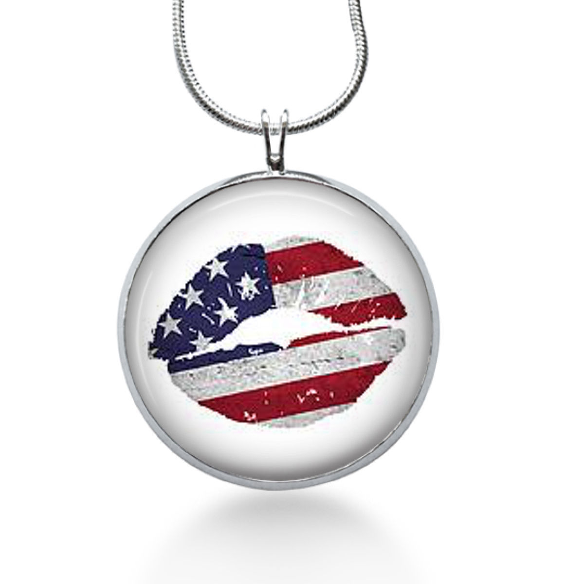 Lips Necklace, Flag lips ,lips pendant, Kiss Necklace, 4th of july- Goth jewelry