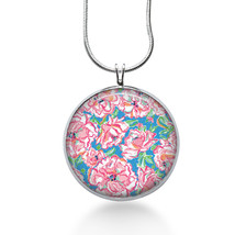 Lilly Pulitzer Inspired Necklace,Lilly Pendant, Pink Flower,floral,gifts for her image 1