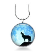 Wolf Silhouette Necklace - Wolf Howl Jewelry - Nature Pendant - $18.32