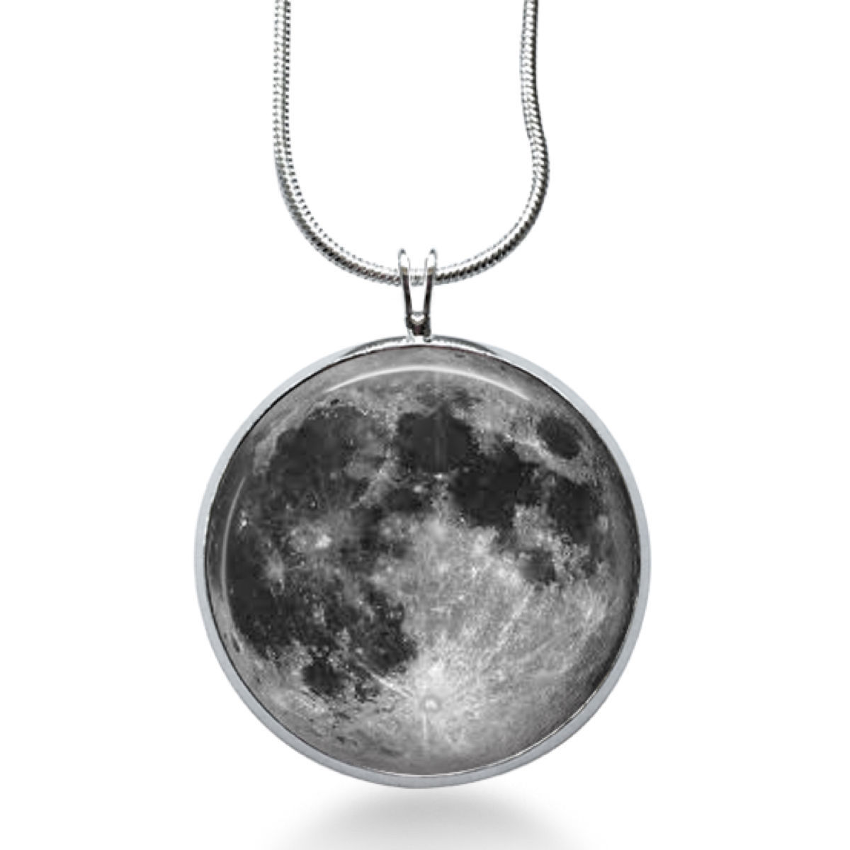 FULL MOON Necklace - Space Picture Pendant - Galaxy Jewelry - Full Moon - Galaxy