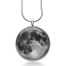 FULL MOON Necklace - Space Picture Pendant - Galaxy Jewelry - Full Moon ... - $18.32