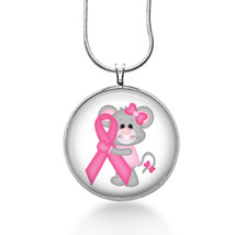 Pink Ribbon Mouse necklace-cancer surviver ,pink ribbon, encouragement- ... - $18.32