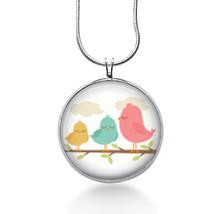 Birds necklace/ 3 Pink Birds on branch/ bird pendant/ bird on branch /pi... - $18.32