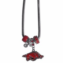 "arkansas razorbacks euro bead necklace with 18"" chain - $22.55"