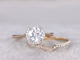 1Ct Round Cut Simulated Diamond 14K Yellow Gold Fn Bridal Wedding Ring Set  - $99.99