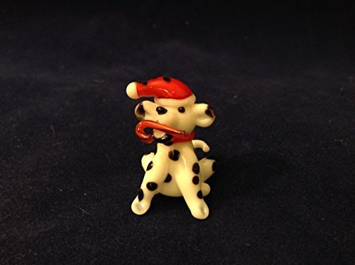 Miniature Hand Made Blown Glass Dalmatian Dog with Elf Hat and Candy Cane