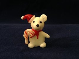 Miniature Hand Made Blown Glass Teddy W Santa Hat and Candy Cane [Kitchen]