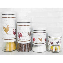 Home Basics Country Rooster 4 Piece Glass Food Storage Canister Set - €27,61 EUR