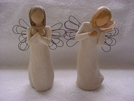 """Willow Tree angels, two, Sign for Love & Thinking of You, China, 5"""" tall - $10.00"""