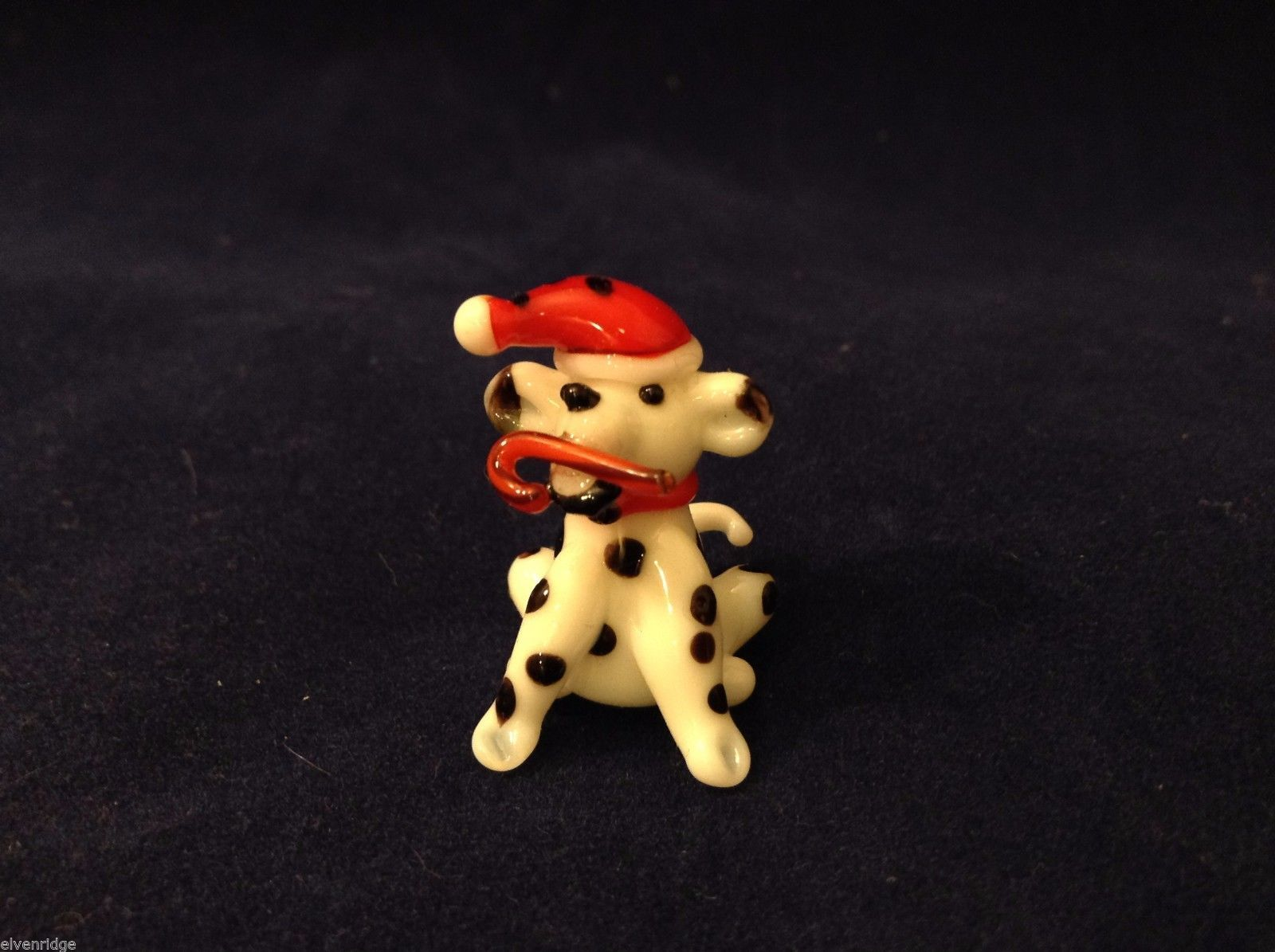 Miniature blown glass figurine Dalmatian dog in elf hat w candy cane USA NIB