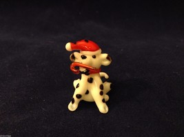 Miniature blown glass figurine Dalmatian dog in elf hat w candy cane USA NIB