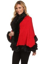 ICONOFLASH Women's Faux Fur Trim Cold Weather Sweater Poncho Cape, Red - $59.39