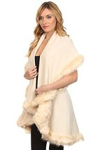 ICONOFLASH Women's Cold Weather Faux Fur Trim Poncho Sweater Cape, Beige - $69.29