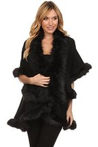 ICONOFLASH Women's Cold Weather Faux Fur Trim Poncho Sweater Cape, Black - $69.29