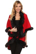 ICONOFLASH Women's Cold Weather Faux Fur Trim Poncho Sweater Cape, Red - $69.29