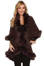 ICONOFLASH Women's Cold Weather Faux Fur Trim Poncho Sweater Cape, Taupe - $69.29