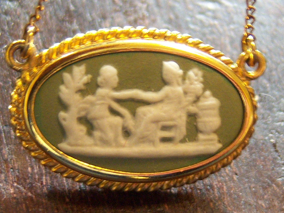 Wedgwood Necklace jewelry. Pre Owned GF Small Green Cameo Necklace.