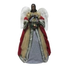 18 in. Tree Topper Angel Christmas African American Burlap Gown Feather ... - $39.79