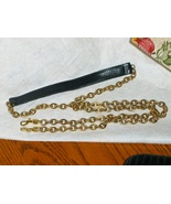 Purse Replacement Strap Black Pebble Grain Leather & Chain with Hooks An... - $14.00