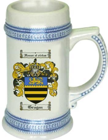 Grugen Coat of Arms Stein / Family Crest Tankard Mug - $21.99