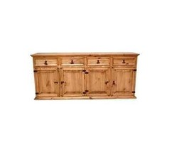 Rustic Large China Cabinet Buffet Base Only Western Solid Wood Sideboard - $841.49