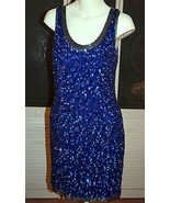 Vintage Carina Sequined Beaded Silk Chiffon Cocktail Party Dress Formal ... - $50.39
