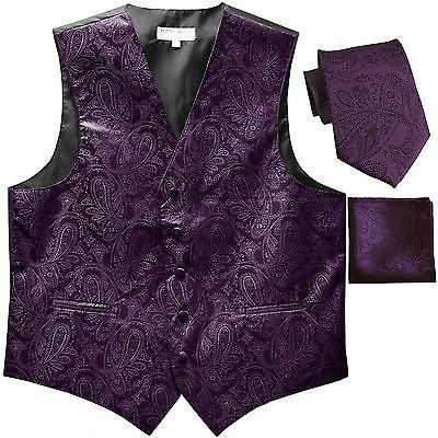 New Men's Formal Vest Tuxedo Waistcoat_necktie set paisley wedding dark purple