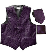 New Men's Formal Vest Tuxedo Waistcoat_necktie set paisley wedding dark ... - $26.49