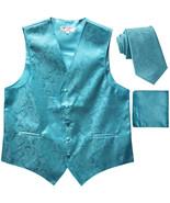 New Men's Formal Vest Tuxedo Waistcoat_necktie set paisley pattern turqu... - $26.49