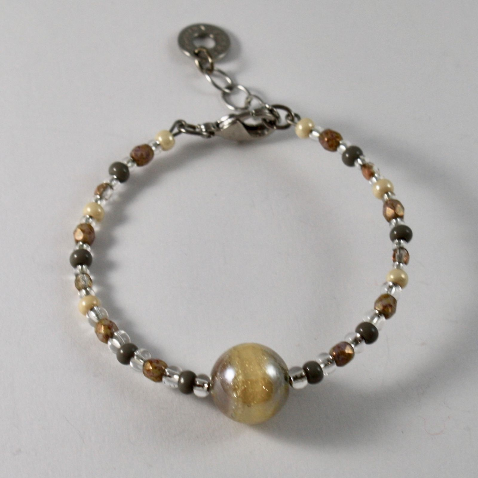ANTICA MURRINA VENEZIA BRACELET WITH YELLOW BROWN MURANO GLASS BALL, 7.5 INCHES