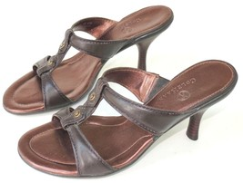 Cole Haan Leather Sandals Brown with Brass Stud... - $46.53
