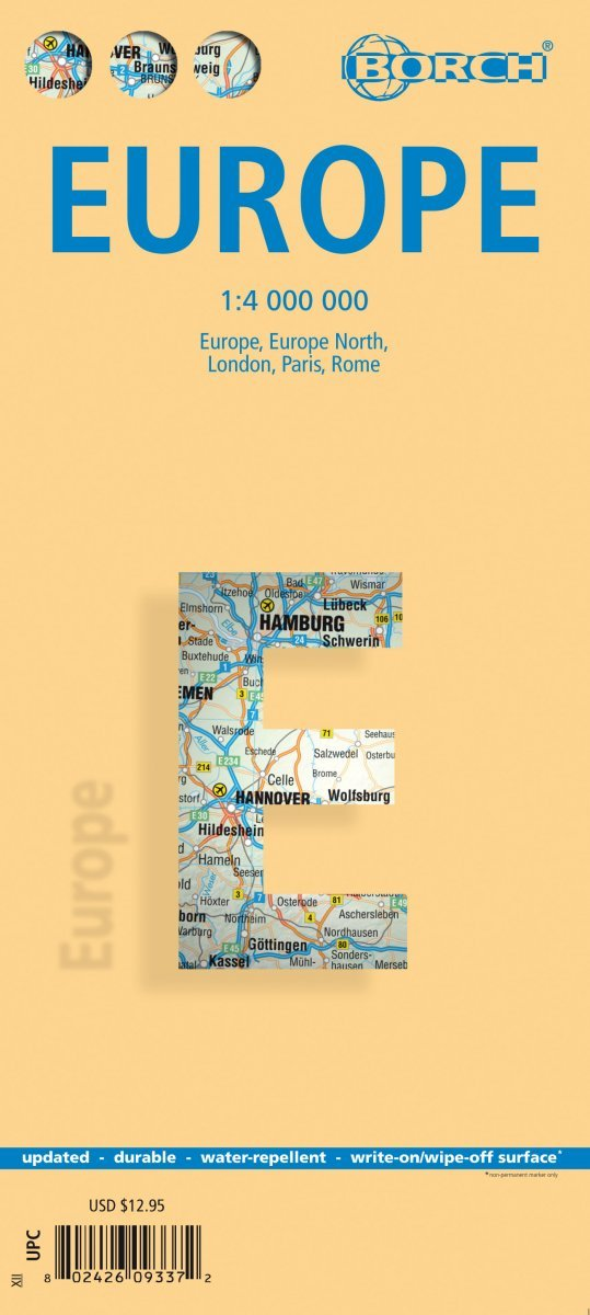 Europe - Laminated Borch Road Map